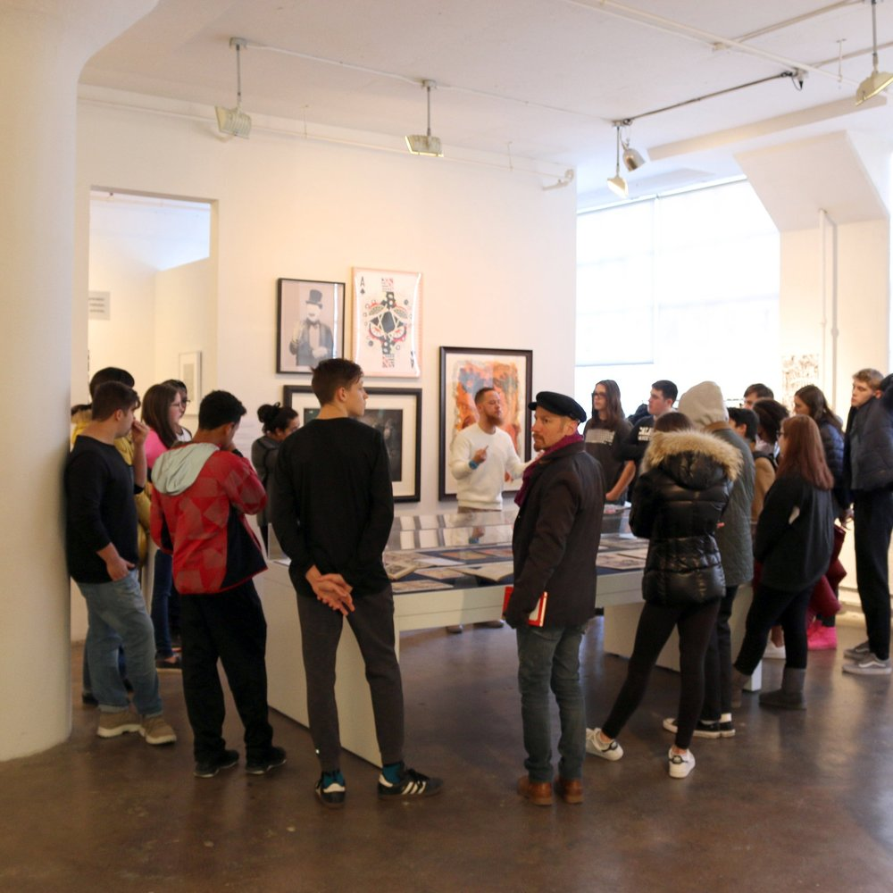 High school & college groups - Exhibiting artists or artist educators, depending on availability, give an in-depth exhibition tour followed by a discussion of new and unique techniques featured in the show. Students also learn about opportunities, including internships and open calls, at IPCNY and at neighboring institutions.