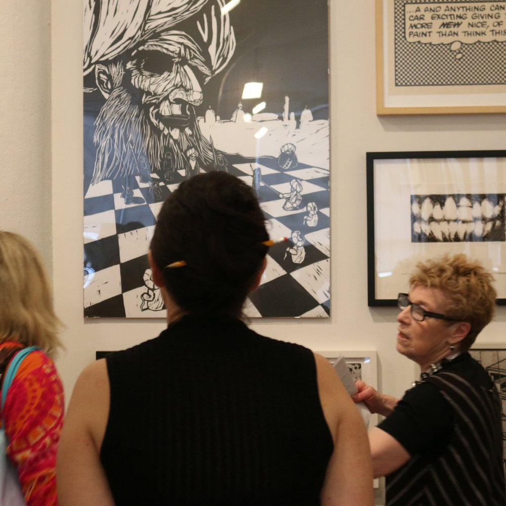 Adult Group tours - Adult groups may request in-depth exhibition tours tailored to their particular interests or professional practice. Depending on availability, IPCNY staff, exhibiting artists, curators, or printmakers may lead the tours or give presentations.