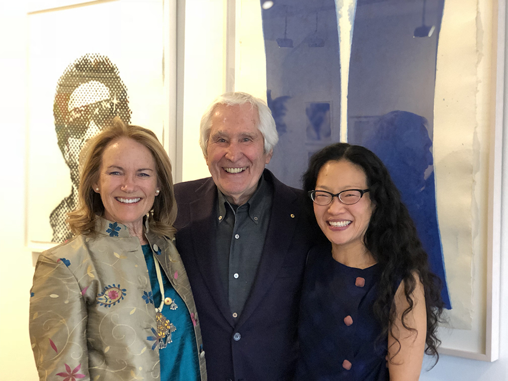 Exhibition curators Susan Gosin (L) and Mina Takahashi (R) with Ken Tyler