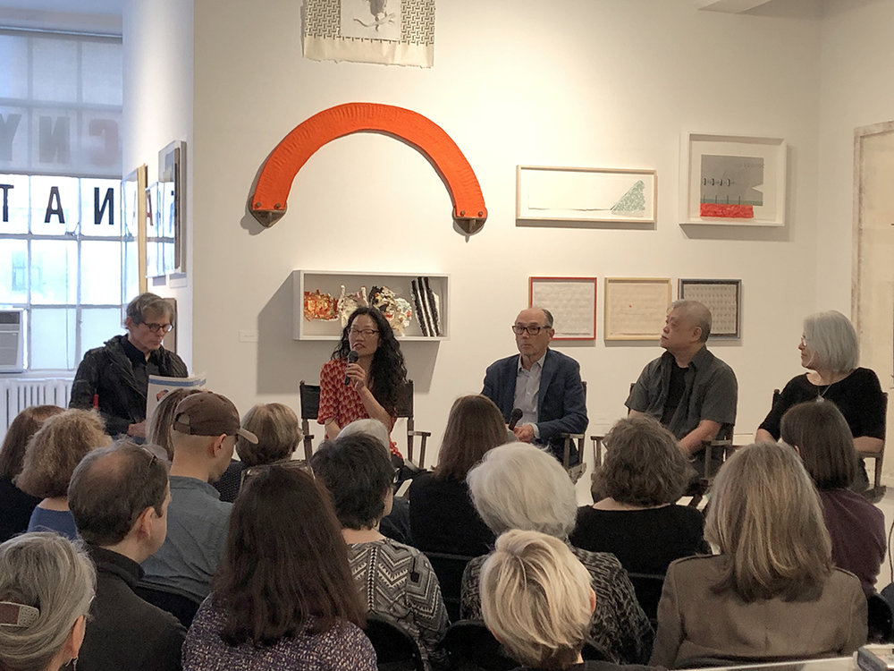L-R: Artist Richard Tuttle with exhibition co-curator Mina Takahashi and collaborators Bill Goldston (ULAE), Paul Wong (Dieu Donné), and Anne McKeown (the Brodsky Center).
