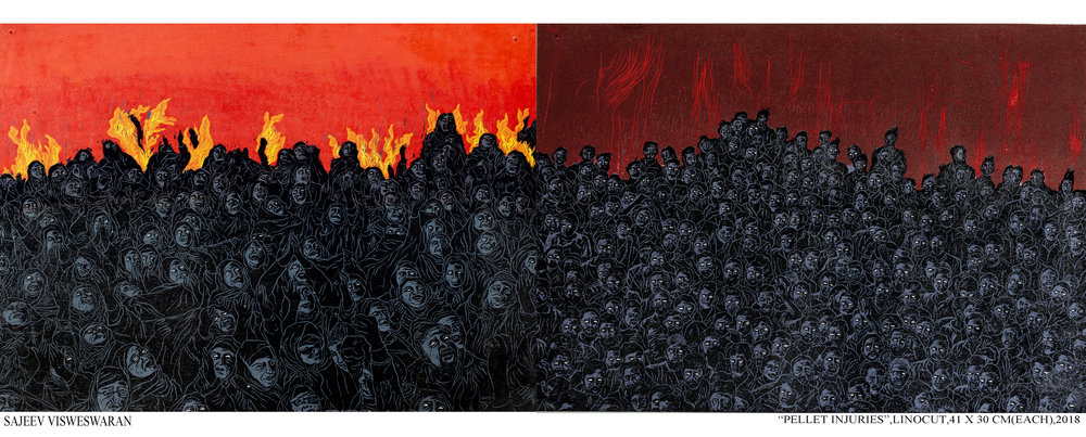 Sajeev Vadakoottu Visweswaran. Pellet Injuries, 2018. Linocut diptych. Each: 13 13/16 x 19 1/2 inches. Printed and published by the artist. Edition: 4