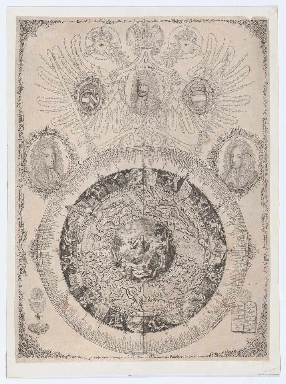 "Johann Michael Püchler, ""The Perpetual Calendar with Portraits of Leopold I and his sons Joseph and Charles"""