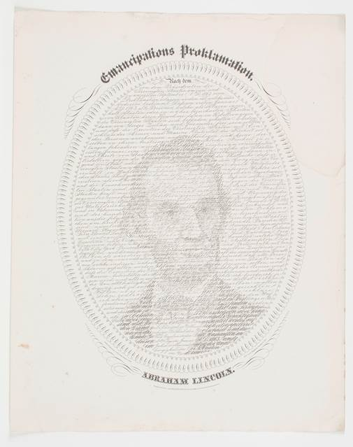 "William Pratt, ""Emancipation Proclamation / Abraham Lincoln (Emancipations  Proklamation / Abraham Lincoln)"""