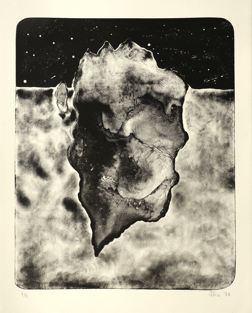 Alice Gauthier   Iceberg I  from the series  Iceberg,  2018 Lithograph Sheet: 28 3/4 x 22 1/2 inches Printed and published by the artist Edition: 3 Courtesy of Alice Gauthier - www.gauthieralice.com © 2019 Alice Gauthier and HGallery, Paris