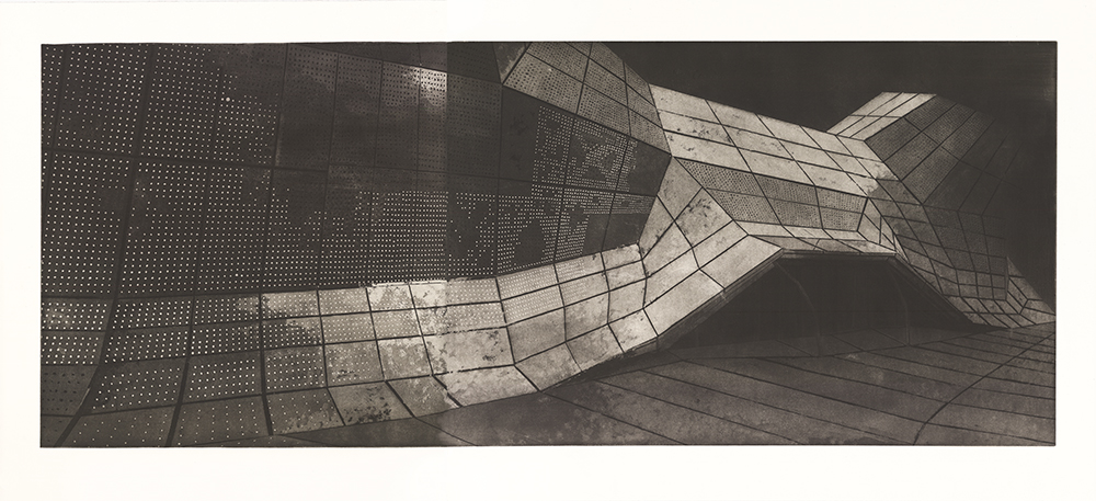 Alicja Grobelka   Orleans  from the series  Megalopolis — my optician of the world,  2018 Intaglio with aquatint Sheet: 27 1/2 x 65 inches Printed and published by the artist Edition: 20