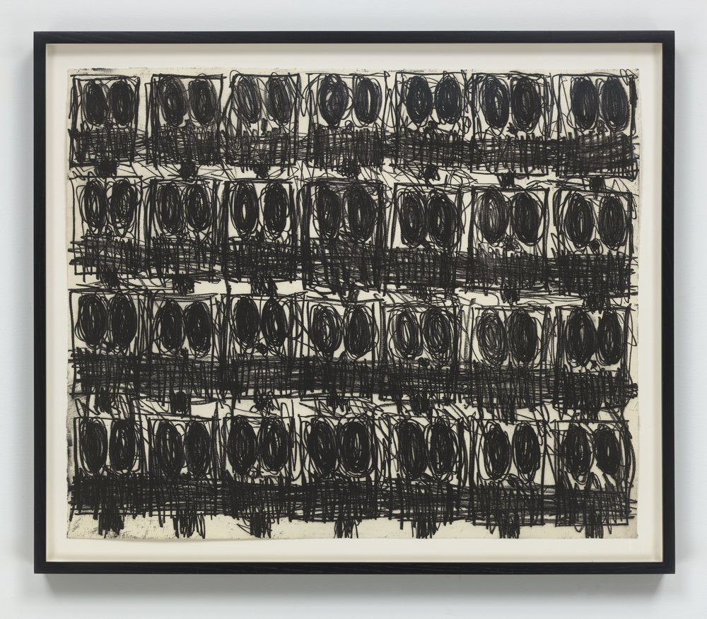 Rashid Johnson   Untitled (Anxious Crowd) , 2018 Softground etching Sheet: 19 7/8 x 24 1/8 inches Printed by Jennifer Melby; published by Hauser & Wirth Editions, New York Edition: 35 Courtesy of the artist and Hauser & Wirth