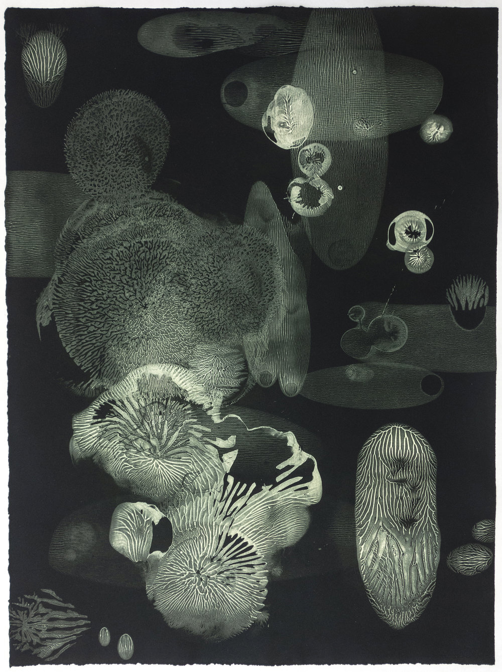 Enrique Leal   Abyssalia XVI  from the series  Abyssalia , 2018 Silk mezzotint Sheet: 30 x 22 inches Printed and published by the artist Edition: 6