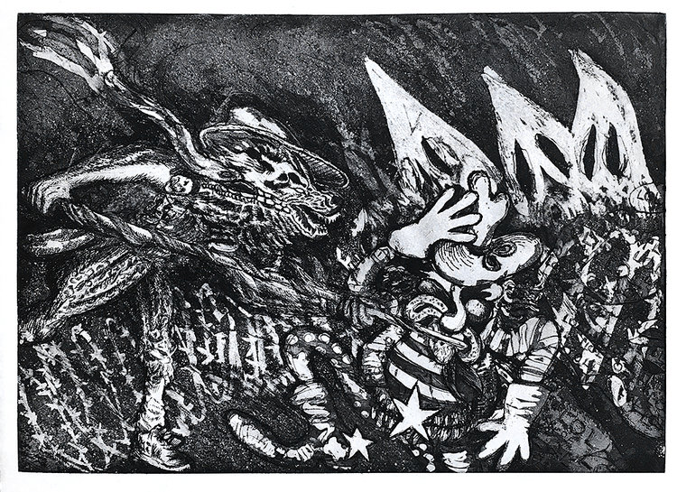 Ernesto Ortiz Leyva.   Open Borders , 2016. Etching with aquatint. Sheet: 12 x 16 1/2 inches. Printed and published by the artist. Edition: 10. Courtesy of the artist. © 2019 the artist.