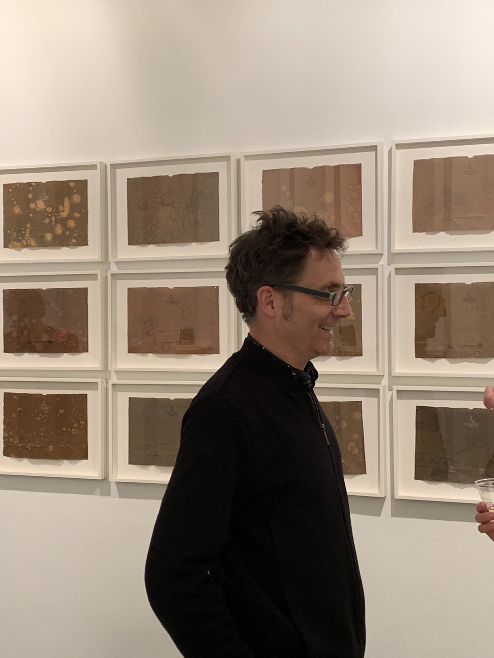 Anders Bergstrom with his works
