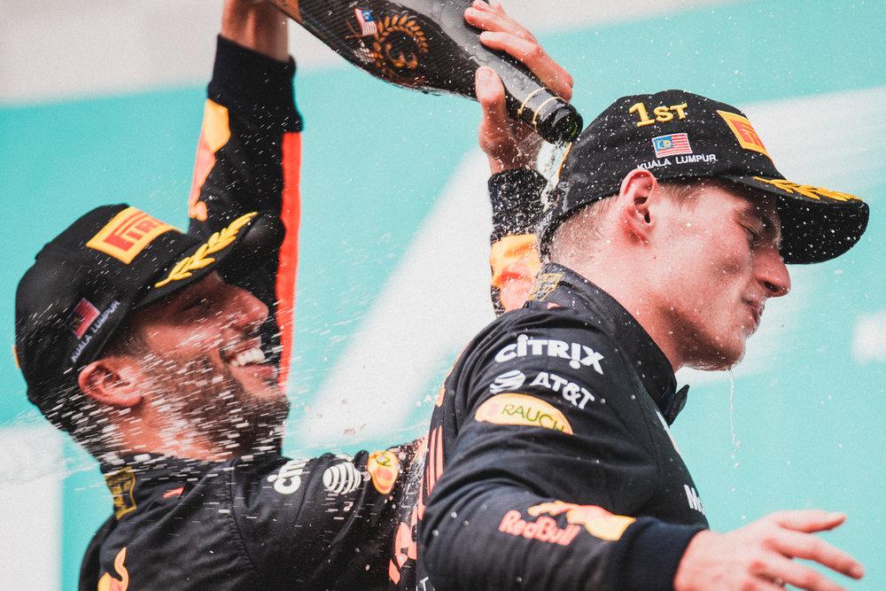Daniel Ricciardo and Max Verstappen, Red Bull. 2017 FIA Formula 1 Championship, Sepang, Malaysia.