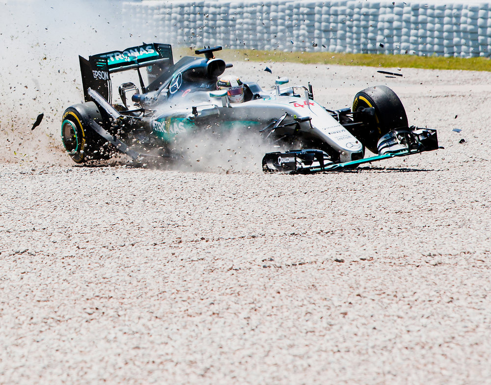 2 of 2. Mercedes Crash. Nico Rosberg, Mercedes. 2016 FIA Formula 1 Championship, Barcelona, Spain.