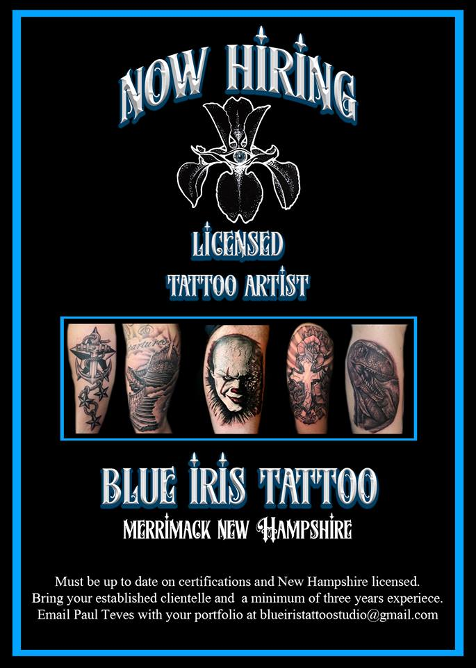b3ad159eb Blue Iris Tattoo has a booth open and is now looking for a professional and  licensed tattoo artist. At this time we are not looking for apprentices or  for ...