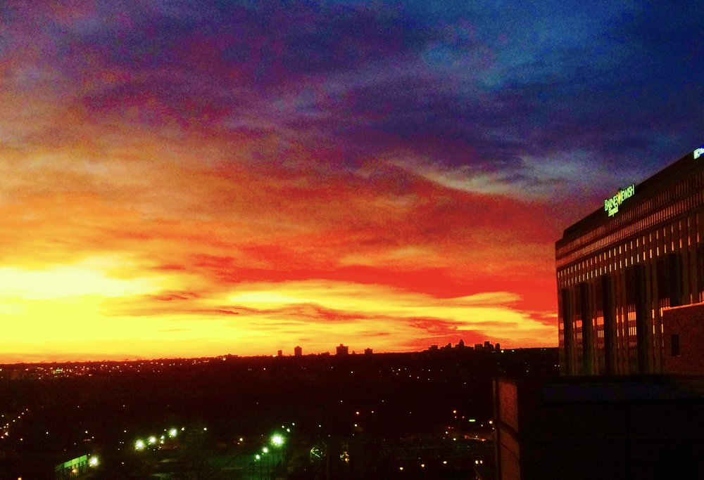 February, 2017 - Lab with a view.  Turns out our view of the  St. Louis sunsets is amazing.