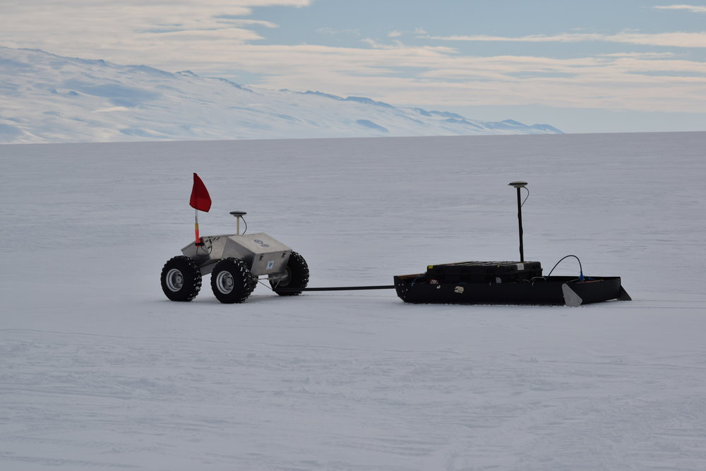 Ross Ice Shelf, Antarctica - Robotic data collection to develop a 3D finite element time-dependent model of the McMurdo Shear Zone (MSZ) stress fields.