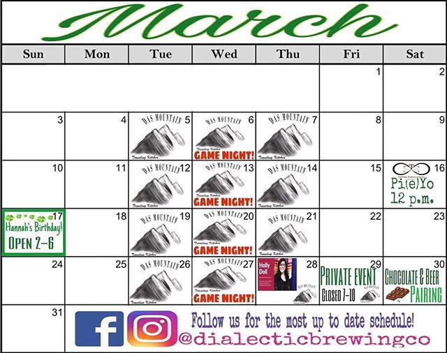 March Schedule!  Stay tuned for updates!