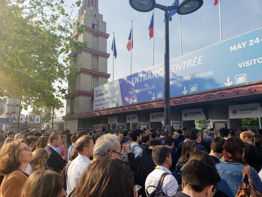 Crowds outside the Paris Expo Porte de Versailles // Image:  Liv Erickson