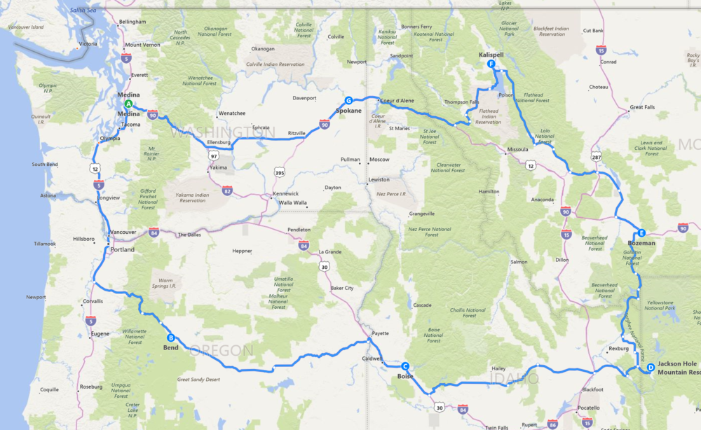 Seattle to Bend, Boise, Jackson Hole, Bozeman, Kalispell, Spokane, and back to Seattle.