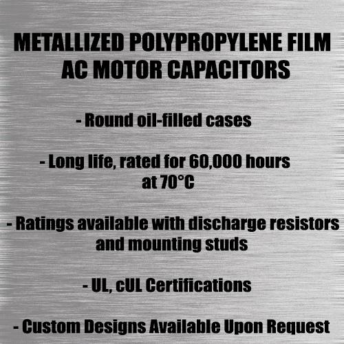 AC Capacitors, Film Capacitors, Metallized Polypropylene Film Capacitors.