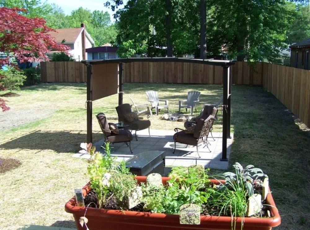 Backyard with pergola and seating