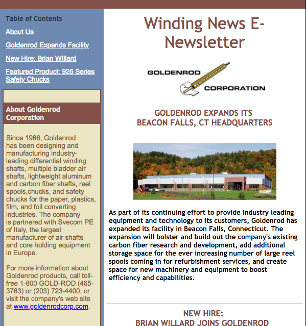GOLDENROD CORPORATION E-NEWSLETTER