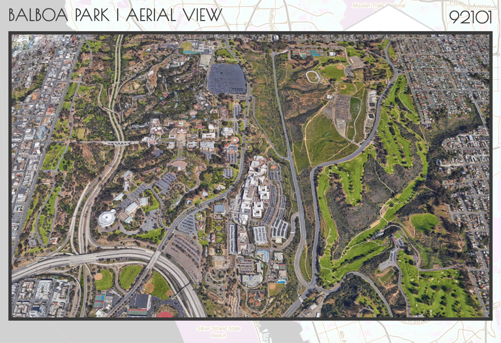 Aerial view of Balboa Park, just like the hawks see it
