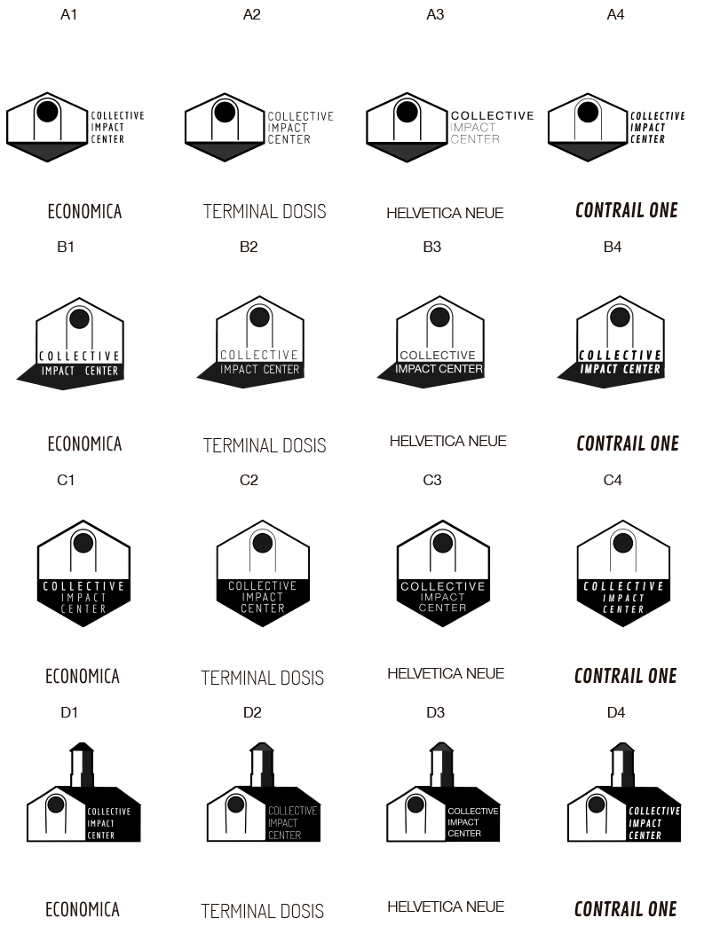 Cheat sheet with logo designs and the corresponding typefaces