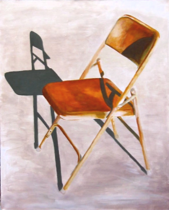 Rusted Folding Chair, 31 x 38, acrylic