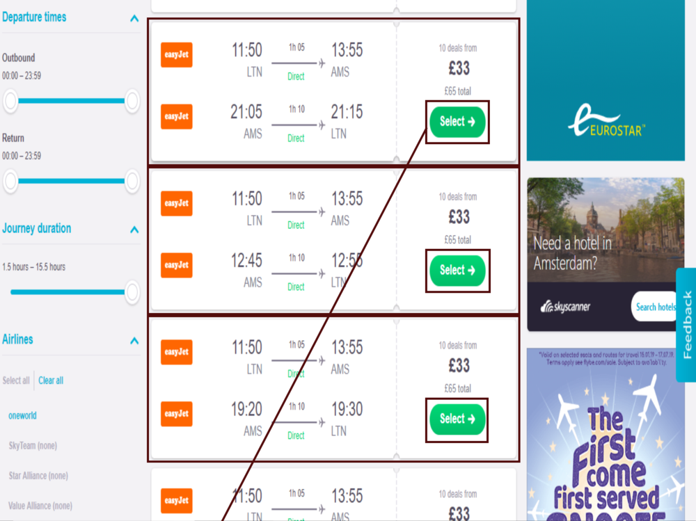 Step 2-  You will arrive here. Click the best value for money flight deal.