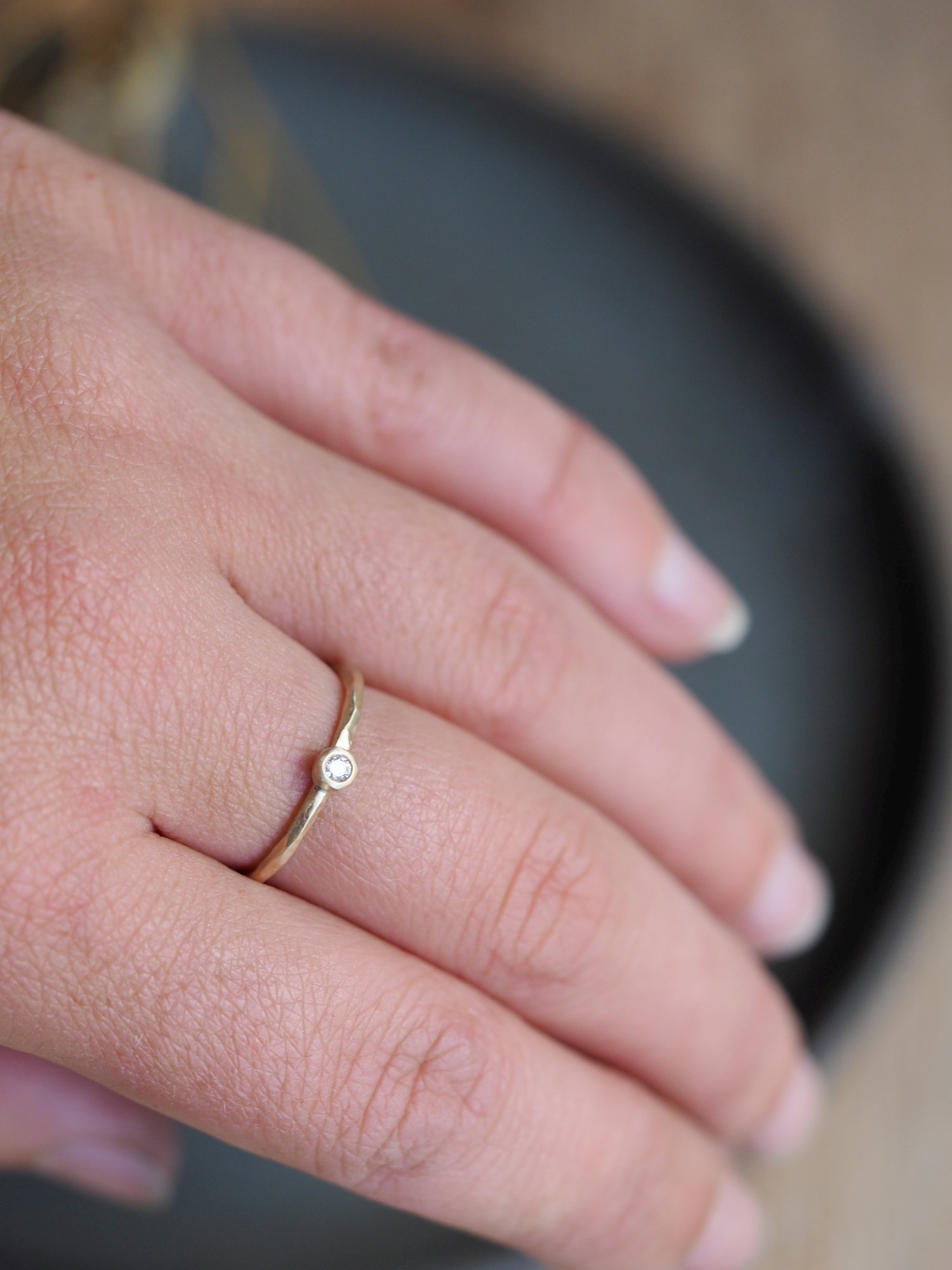 Solid Gold + Tiny Diamond Ring — HANNAH BATSTONE // Contemporary ...
