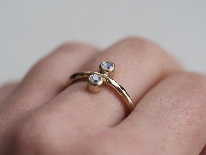 9ct Gold Double Moonstone Ring — HANNAH BATSTONE // CONTEMPORARY ...