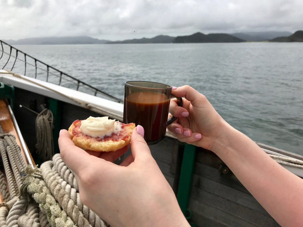 Snacks served on the boat.