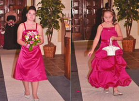 Junior Bridesmaid included adjusting the bodice, adding straps, and shortening and re-working multiple layers.  The alterations included adjusting the bodice by reworking it and shortening the length.