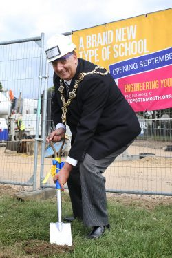 The Lord Mayor breaking the ground