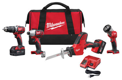 2695-24 - M18™ Cordless LITHIUM-ION 4-Tool Combo Kit containing:– M18 Hammer Drill/Driver– M18 Impact Driver– M18 Hackzall– M18 Worklight– M18 XC battery and charger– Contractor Tool Bag