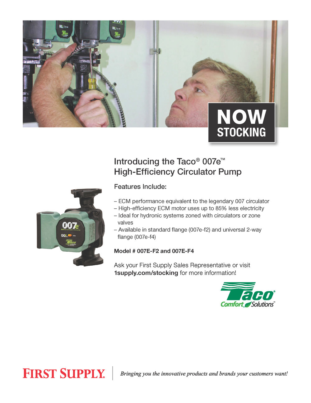 Taco 007e High-Efficiency Circulator Pump [ download pdf ]