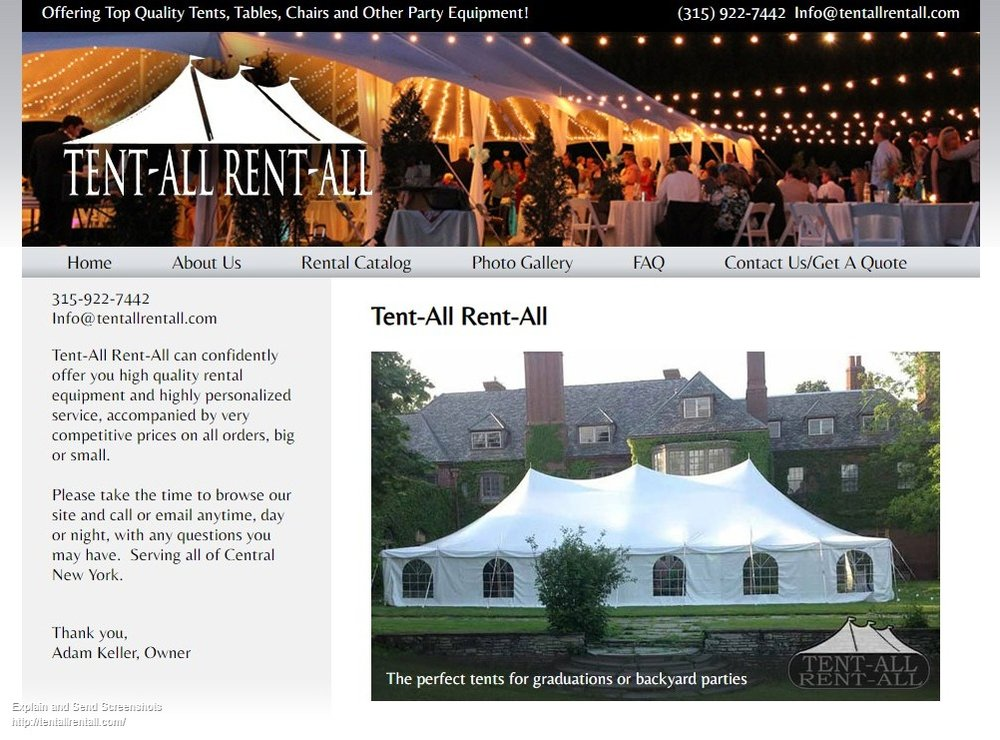 Screenshot of Tent All Rent All - Renting tents, tables, chairs, and other party equipment - central New York - Tent All Rent All Utica Ny, Rome NY Wedding Rentals, Tent Rentals, Tables and chairs.jpg