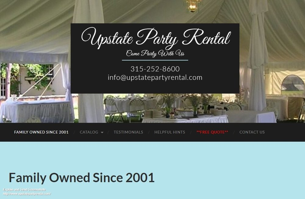 Screenshot of Upstate Party Rental- Wedding, Party, Graduation Tent, Table, Chair Rental.jpg