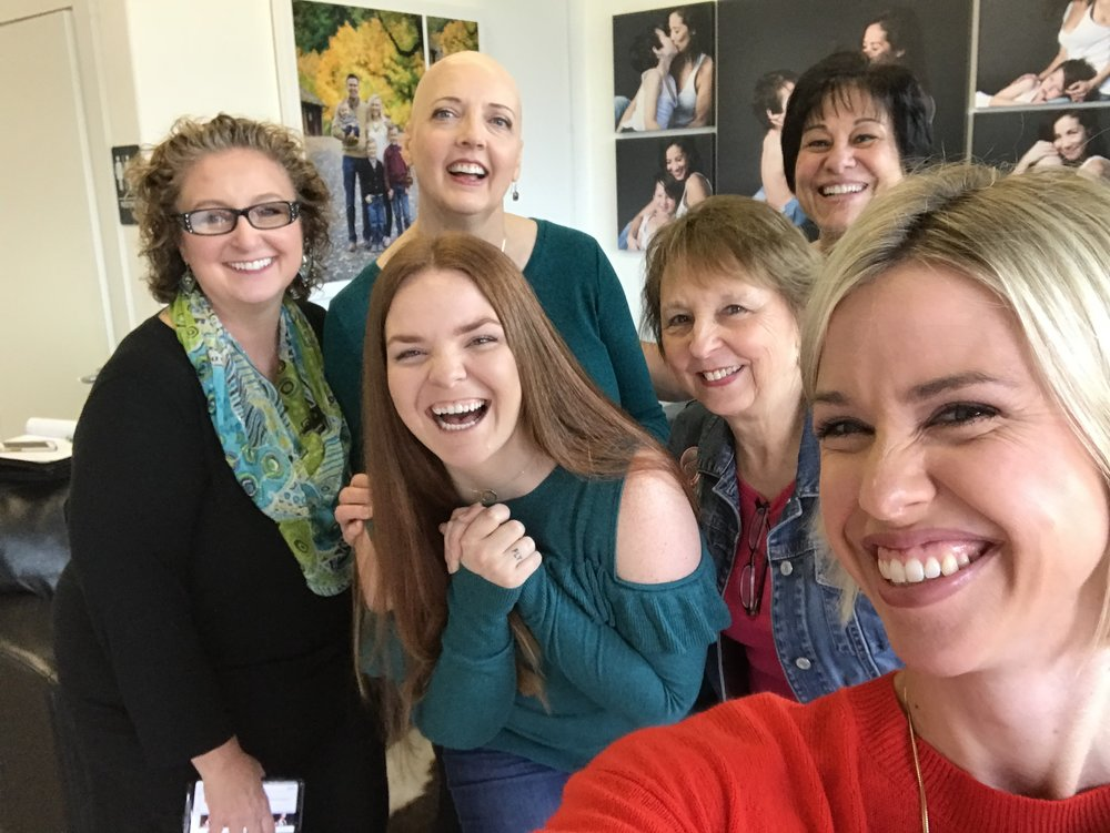 Left to Right: Tracy Shultz Hair and Makeup Artist, Melissa our Beautiful Honoree for the Day, Myself Christine Yodsukar, Ginger Deborde Community Ambassador of Breast Friends, Linda Adams Voluntee of Breast Friends, Sally Showman of Heartprint Productions.