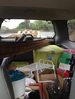 This is the back of the jeep filled with our awesome dump-store finds.