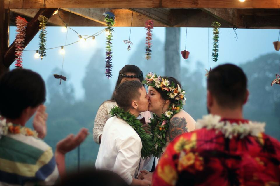 first kiss same sex wedding kona