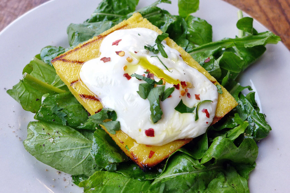 Grilled Polenta with Stracchino cheese and Arugula