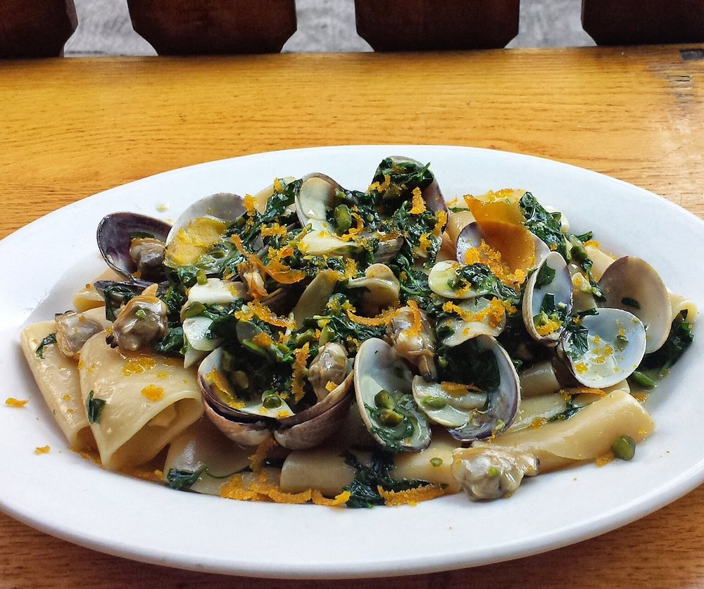 Paccheri Pasta with Clams and Bottarga