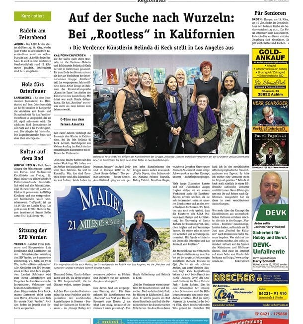 Rootless in California - article in the Bremen Sunday Newspaper, GermanyMarch, 2019