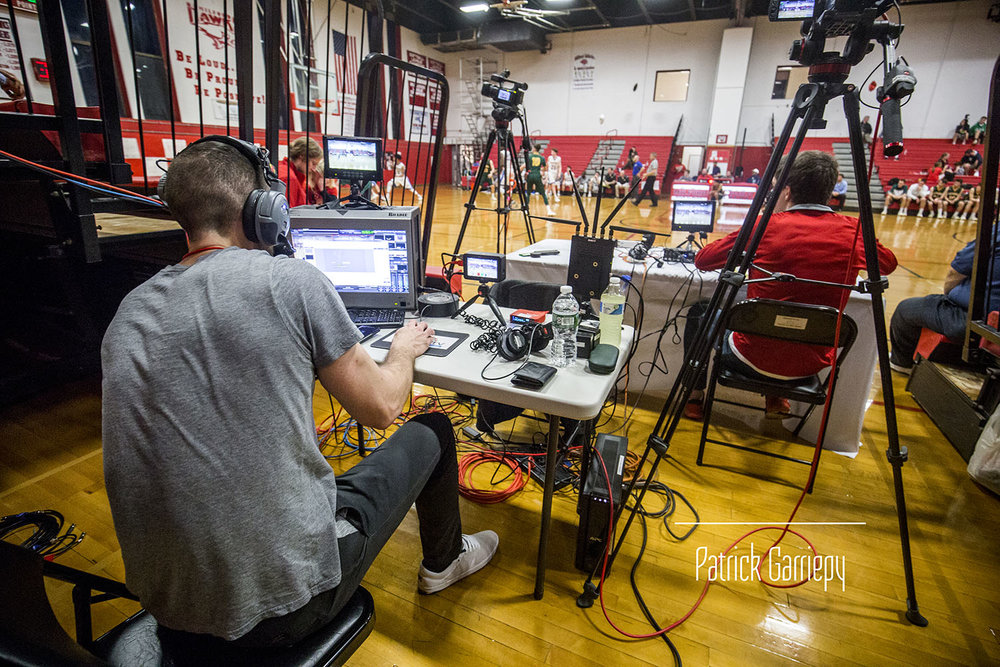 Rob and company preparing to produce a Milford High School basketball game.