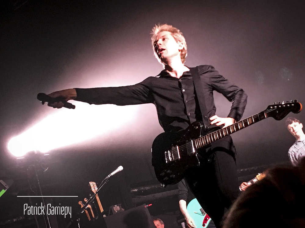 Alex Kapranos looks for a response from the audience in attendance