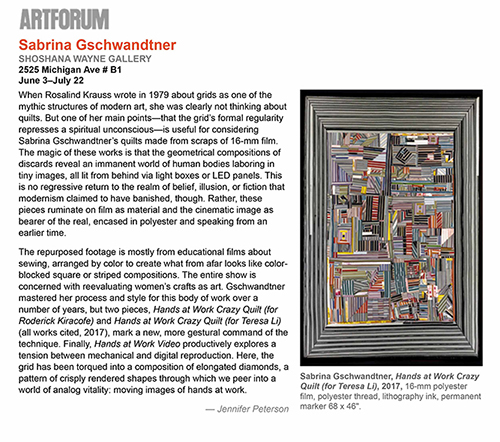 "Artforum Critics' Pick ""Sabrina Gschwandtner: Shoshana Wayne Gallery."" By Jennifer Peterson. June 2017."
