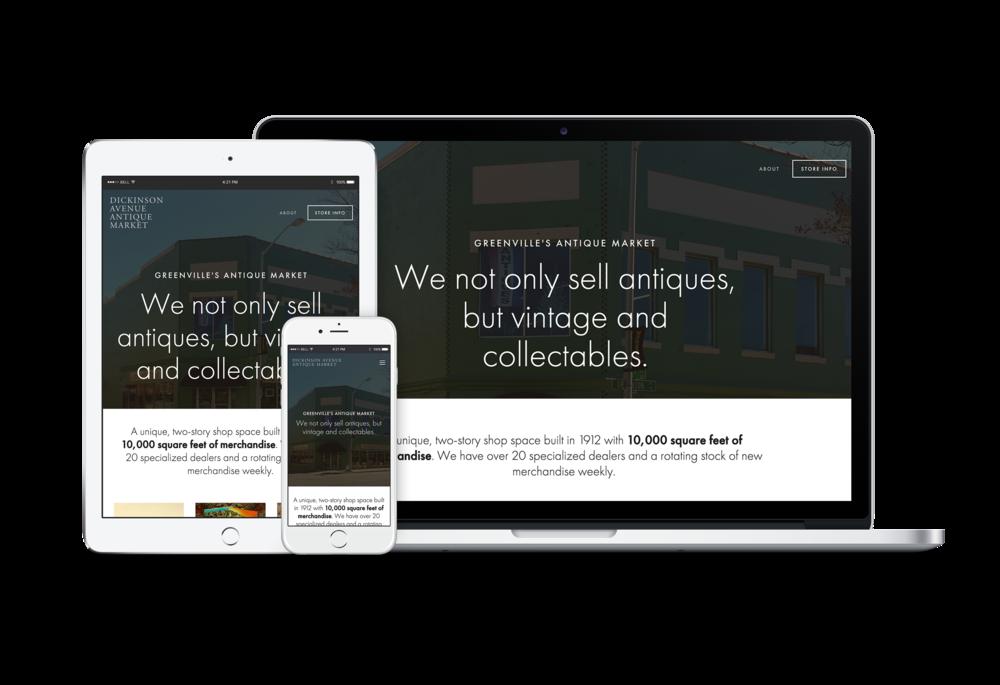 Website design for Dickinson Avenue Antique Market