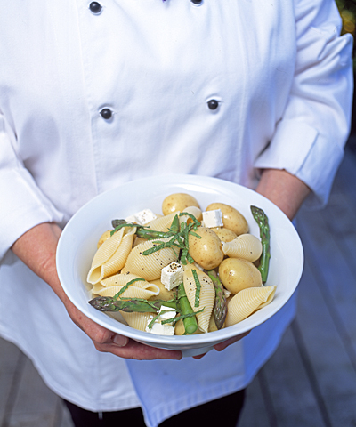 Food photography of Minted Summer Pasta and Potatoes by Ruth Pretty.