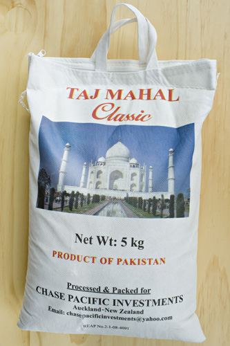 Bag of rice from Pakistan with the Taj Mahal on it.