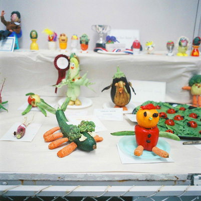 Vege creations made by children at Levin A&P show in New Zealand.